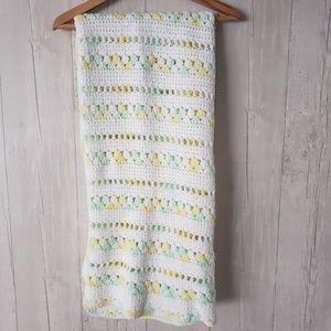 Vintage Crochet Baby Blanket Yellow GreeN Neutral
